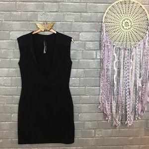 aq/aq // black plunging v-neck sparta mini dress 4
